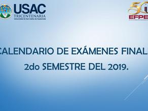 CALENDARIO DE EXÁMENES FINALES 2do SEMESTRE 2019