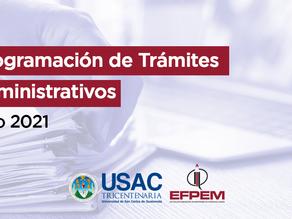 Programación de trámites administrativos - julio 2021