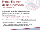 Calendario 1era. recuperación 2do. Semestre