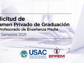 Solicitud de Examen Privado de Graduación de Profesorado de Enseñanza Media