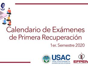 Calendario de exámenes 1era recuperación 1er semestre