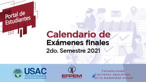 Calendario de exámenes finales del segundo semestre 2021