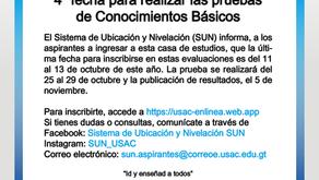 Información sobre 4ta. oportunidad de pruebas básicas de ingreso a la USAC