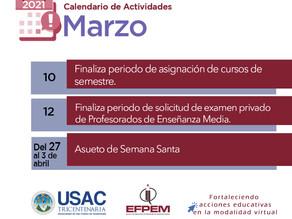 Calendario de actividades Marzo 2021