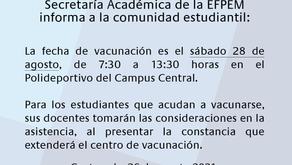 Aviso - Vacunación contra la Covid-19 para estudiantes de la EFPEM