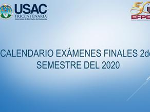 Calendario de exámenes finales 2do. Semestre del 2020
