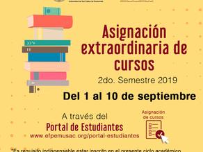 Asignación extraordinaria de cursos 2do semestre 2019