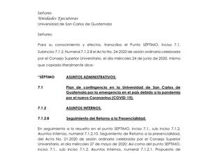 Plan de Contingencia Universidad San Carlos, debido a la pandemia Covid-19