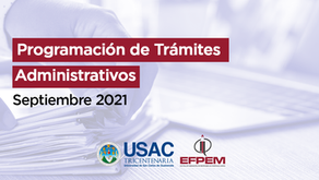 Programación de trámites administrativos - septiembre 2021