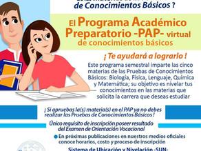 Información sobre inscripción a Programa Académico Preparatorio 2do. semestre 2021