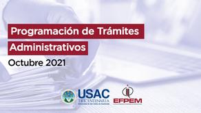 Programación de trámites administrativos - octubre 2021