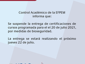 Aviso: entrega de certificación de cursos