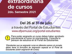 Asignación extraordinaria de cursos 2do. semestre 2021