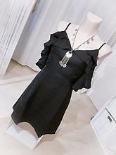 robe noire volant boutique dentelle choc