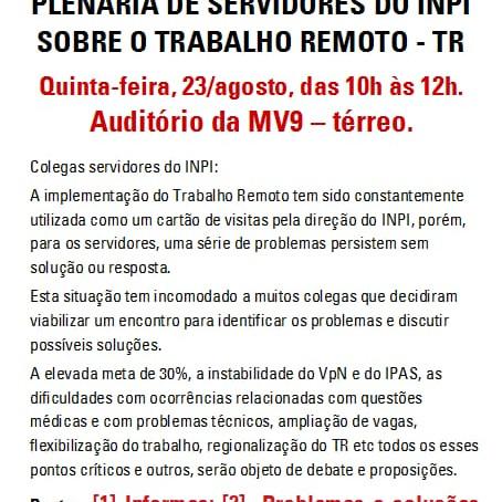 PLENÁRIO DO SINDISEP/RJ NO INPI