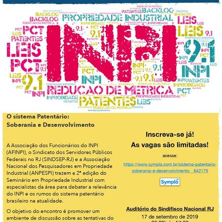 """Estão abertas as inscrições do seminário """"O sistema Patentário: Soberania e Desenvolvimento"""""""
