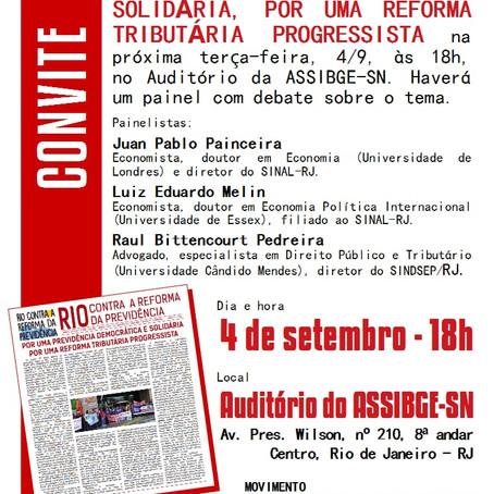 Lançamento de manifesto de sindicatos em defesa da previdência pública.