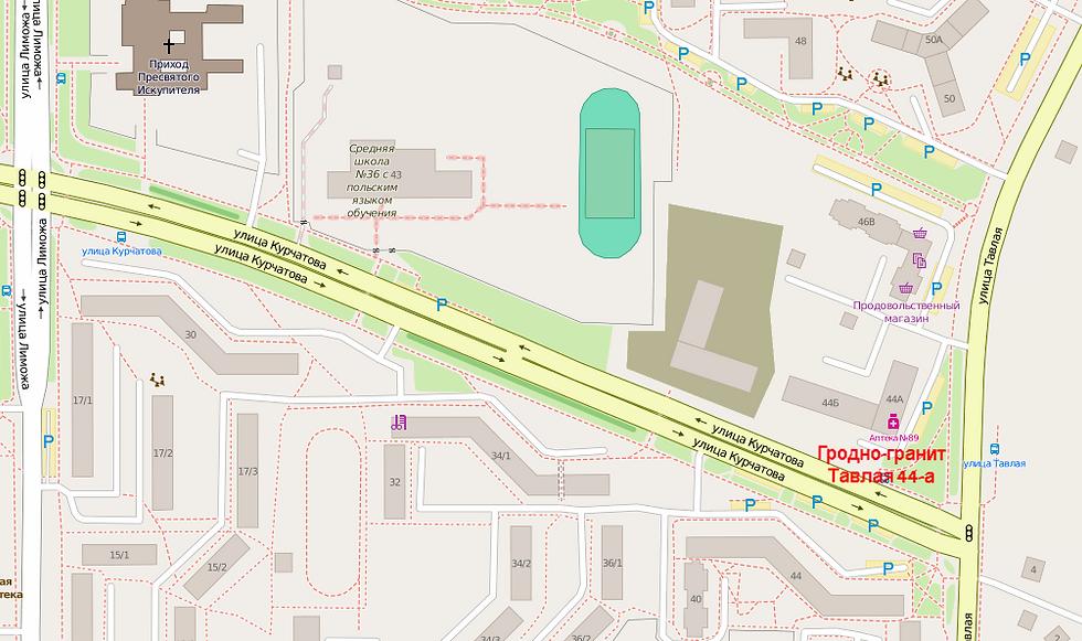Схема проезда к офису Гродно-гранит