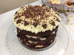 chocolate and black cherry gateaux