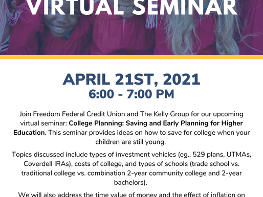 FREE College Planning Virtual Seminar with Freedom Federal Credit Union & The Kelly Group