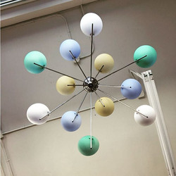 How cool is this light fixture !  I believe it's Italian design made of chrome with glass colorful s