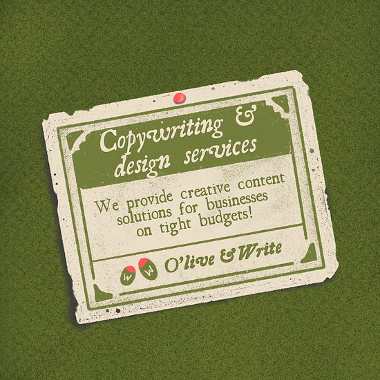 Olive and write Copywriting and design ad