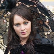 Goth girl with black parasol