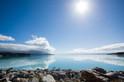 A relentless sun beats down on Lake Pukaki