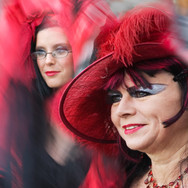 Two Goth Ladies in Red