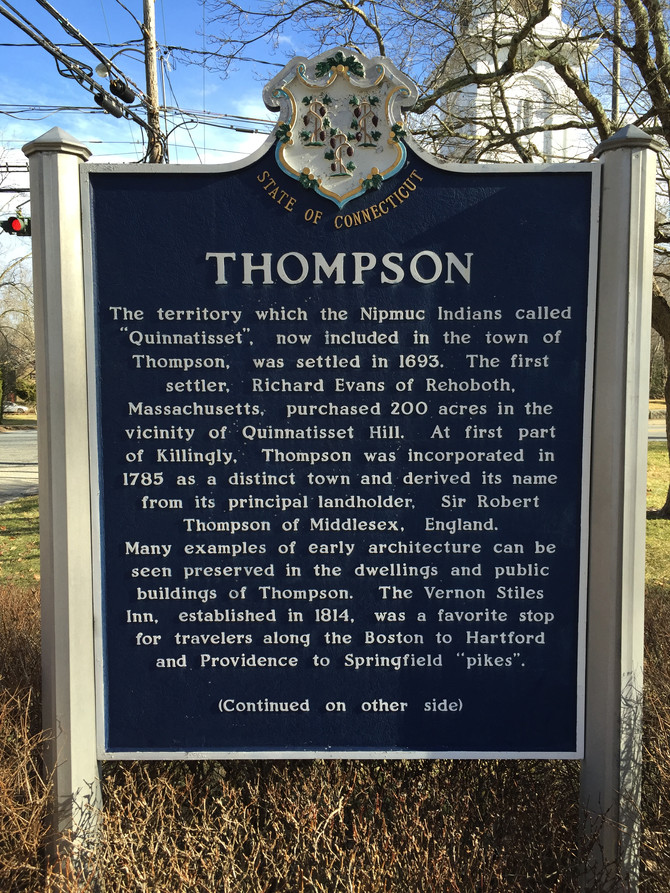 First stop..Thompson, Ct!                             Our 169 Connecticut Towns Journey..