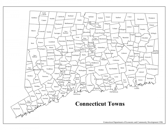 Map of 169 Towns in Connecticut