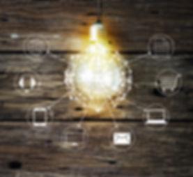 Light bulb circle global and icon custom