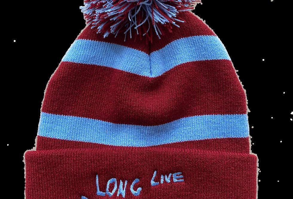 Claret Striped Bobble Hat