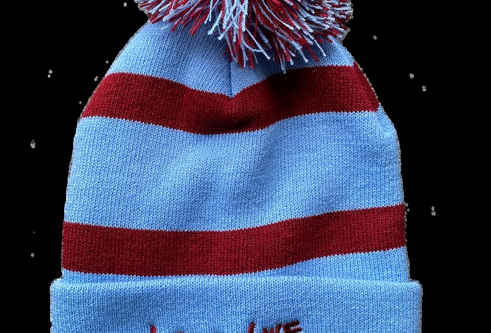 Blue Striped Bobble Hat