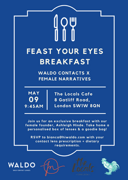 Waldo Contacts x Female Narratives Breakfast Invite