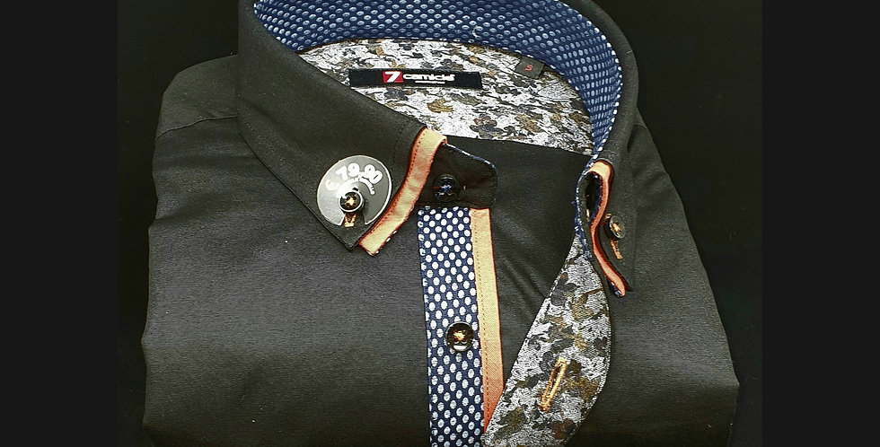 Chemise Homme Popeline stretch petit double col Gorge motifs (Réf: H8)