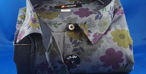Chemise Femme popeline imprimé kaki et marine boutonnage classique (Réf: Y19)