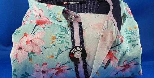 Chemise Homme coton satiné imprimée petit col cousu (Réf: O4)