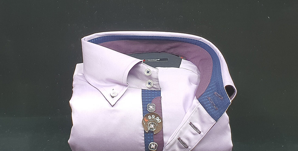 Chemise Homme satin de coton 7 boutons gorge marine/violet (Réf: L5)