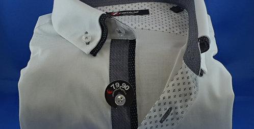 Chemise Homme Unie Blanc petit double col gris (Réf: 1)