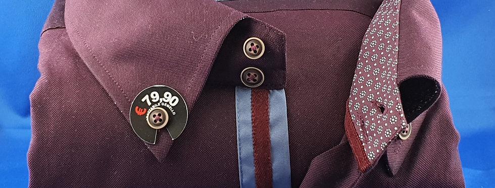 Chemise Homme piqué de coton oxford Bordeaux gorge fantaisie (Réf: P3)