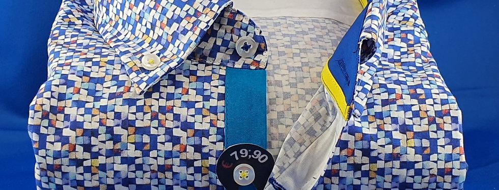 Chemise Homme popeline imprimée Mosaique Bleu (Réf: O8)