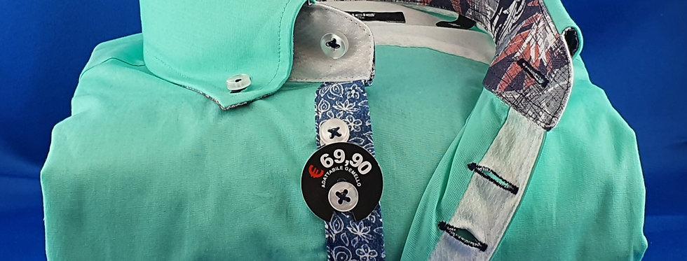 Chemise Homme popeline stretch gorge fantaisie 7 boutons fushia (Réf: C1)