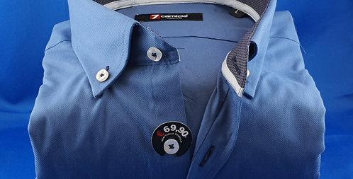 Chemise Homme piqué de coton classique bleu pétrole (Réf: M2)