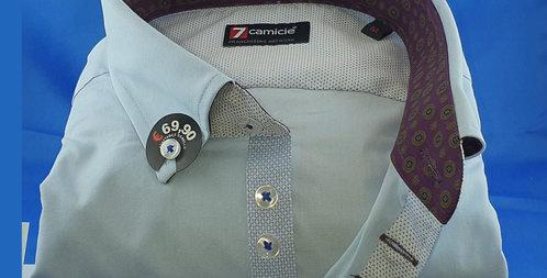 Chemise Homme Ciel Popeline Stretch gorge 7 boutons (Réf: 2F)
