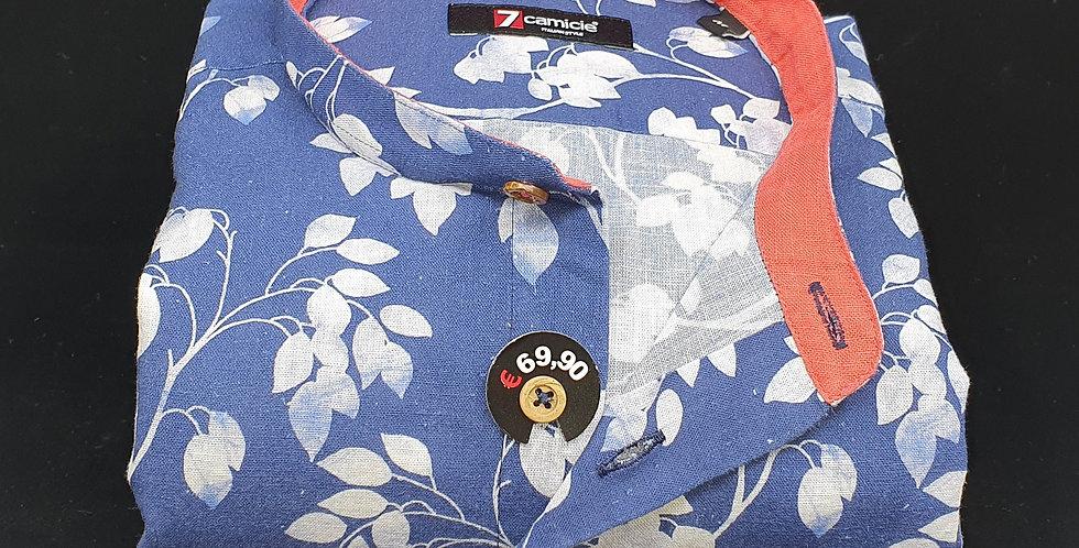Chemise Homme Lin et coton col Mao imprimé fleurs Marine/Blanc (Réf: LC1)