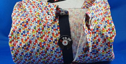 Chemise Homme popeline imprimée Mosaique Corail (Réf: O9)