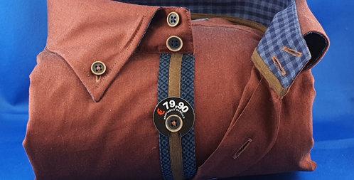 Chemise Homme piqué de coton Oxford rouille gorge fantaisie (Réf: P1)