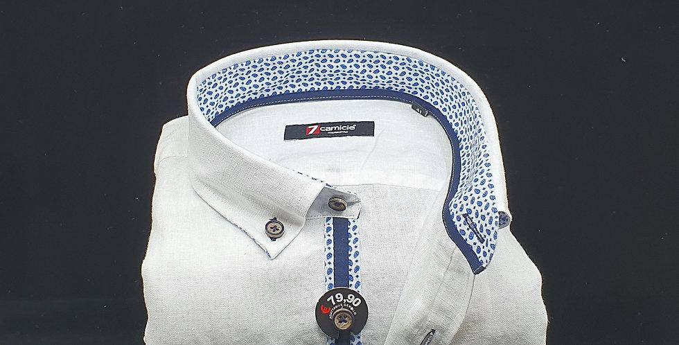 Chemise Homme 100% Lin boutonnage classique gorge fantaisie marine (Réf: LI)