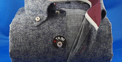 Chemise Homme Oxford imprimé Marinesur fond gris boutonnage classique (Réf: O10)